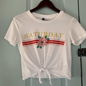 H & M DIVIDED Saturday Tie Crop Saturday Graphic T